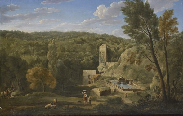 "<span class=""artist""><strong>Hendrik Frans van Lint</strong></span>, <span class=""title""><em>A Fountain in the Roman Campagna</em>, 1732</span>"