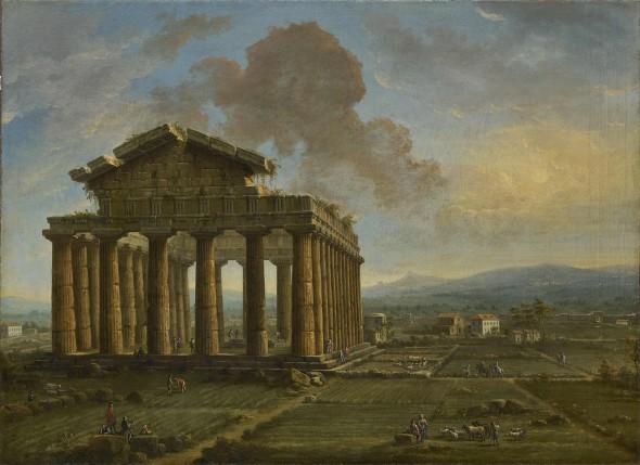 "<span class=""artist""><strong>Antonio Joli</strong></span>, <span class=""title""><em>Temple of Poseidon at Paestum</em>, late 1750s</span>"
