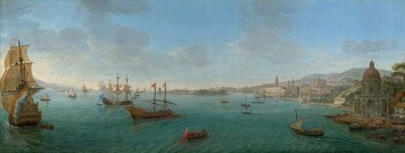 "<span class=""artist""><strong>Gaspar Van Wittel, Called Vanvitelli</strong></span>, <span class=""title""><em>Messina from the Sea, with the Church of Santa Maria della Grotta</em>, circa 1720</span>"