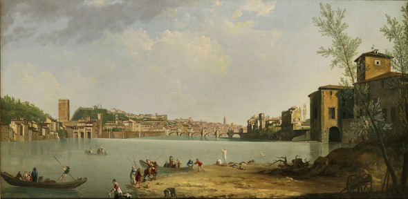 """<span class=""""artist""""><strong>Thomas Patch</strong></span>, <span class=""""title""""><em>View of the River Arno with the Ponte alle Grazie</em>, ca. 1760s</span>"""