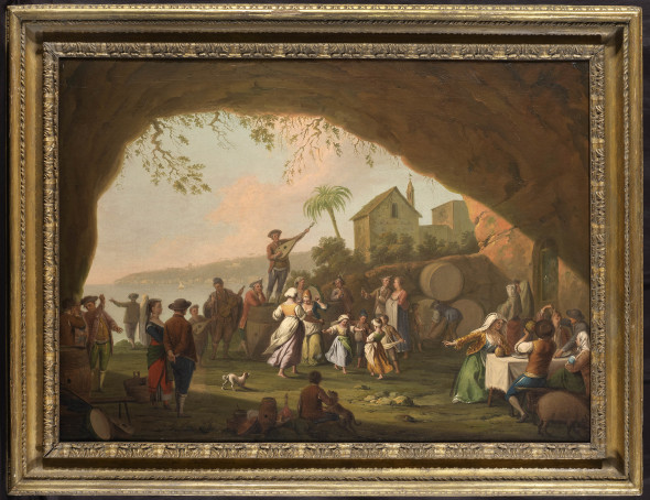 """<span class=""""artist""""><strong>Pietro Fabris</strong></span>, <span class=""""title""""><em>Peasants scene with a tarantella in a cave at Mergellina, with Posillipo in the background</em>, 1756</span>"""