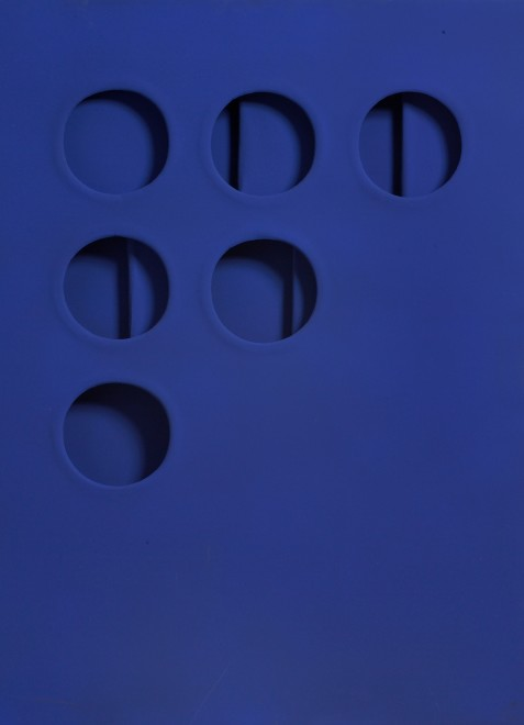 """<span class=""""artist""""><strong>Paolo Scheggi</strong></span>, <span class=""""title""""><em>Intersuperficie curva dal blu (Curved Intersurface from Blue)</em>, 1966</span>"""