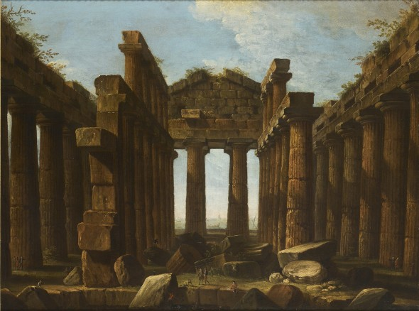 "<span class=""artist""><strong>Antonio Joli</strong></span>, <span class=""title""><em>Interior of the Temple of Poseidon at Paestum</em>, ca. 1756–60</span>"