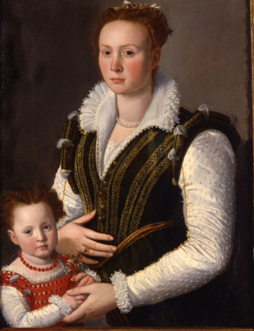 "<span class=""artist""><strong>Santi Di Tito</strong></span>, <span class=""title""><em>Portrait of a noblewoman with her daughter</em></span>"