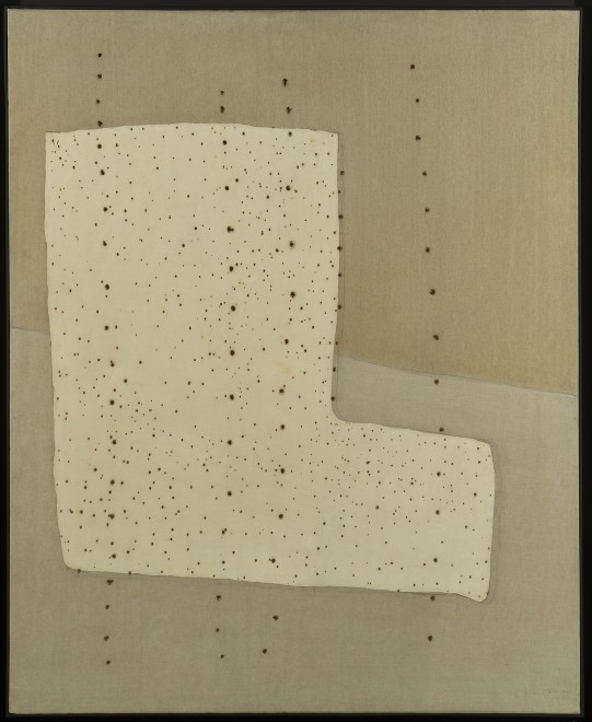 "<span class=""artist""><strong>Lucio Fontana</strong></span>, <span class=""title""><em>Concetto Spaziale. Forma</em>, 1957</span>"