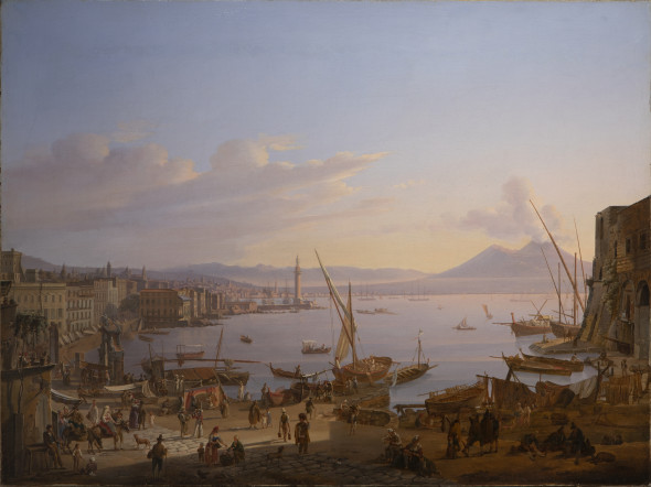 """<span class=""""artist""""><strong>Frans Vervloet</strong></span>, <span class=""""title""""><em>View of Naples with the Lighthouse, Vesuvius beyond</em>, 1830</span>"""