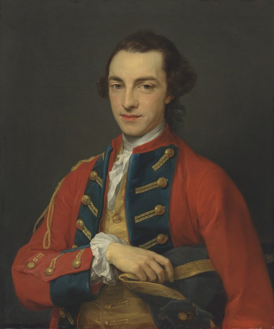 """<span class=""""artist""""><strong>Pompeo Batoni</strong></span>, <span class=""""title""""><em>Portrait of George Craster (1734-1772), half-length, in the gold-frogged, red and blue uniform of the Horse Grenadier Guards, holding a tricorn</em></span>"""