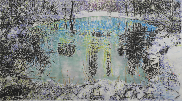 "<span class=""artist""><strong>Ena Swansea</strong></span>, <span class=""title""><em>Central Park Pond</em>, 2019</span>"