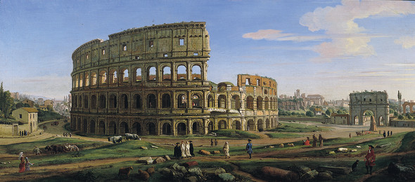 """<span class=""""artist""""><strong>Gaspar Adriaensz. van Wittel, called Vanvitelli</strong></span>, <span class=""""title""""><em>View of the Colosseum and Arch of Constantine from the East</em>, 1707</span>"""