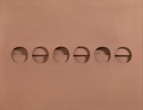 "<span class=""artist""><strong>Paolo Scheggi</strong></span>, <span class=""title""><em>Intersuperficie curva dal rosa</em>, 1966</span>"