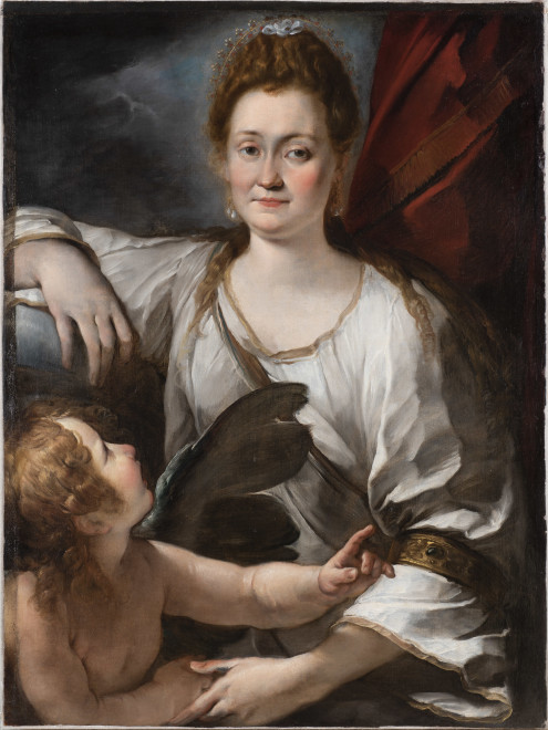 "<span class=""artist""><strong>Giulio Cesare Procaccini</strong></span>, <span class=""title""><em>Portrait of a Lady with a Putto (Allegorical portrait of Orsola Cecchini?)</em></span>"