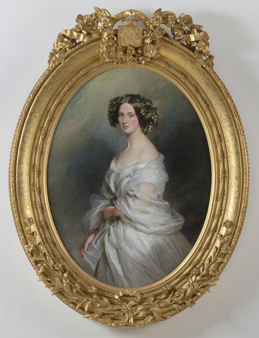 """<span class=""""artist""""><strong>Franz Xaver Winterhalter</strong></span>, <span class=""""title""""><em>A Portrait of A Lady (thought to be Therese Freifrau Von Bethmann, nee Freiin Vrints V Treuenfeld)</em>, 1850</span>"""