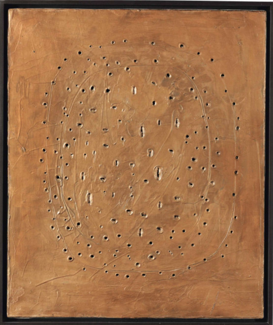 "<span class=""artist""><strong>Lucio Fontana</strong></span>, <span class=""title""><em>Concetto Spaziale</em>, 1960–61</span>"