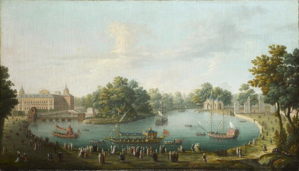 """<span class=""""artist""""><strong>Antonio Joli</strong></span>, <span class=""""title""""><em>The Royal Palace Of Aranjuez From The North-East, With King Ferdinand VI Of Spain And Queen Maria Barbara Of Braganza On The Royal Barge</em>, 1700-1777</span>"""