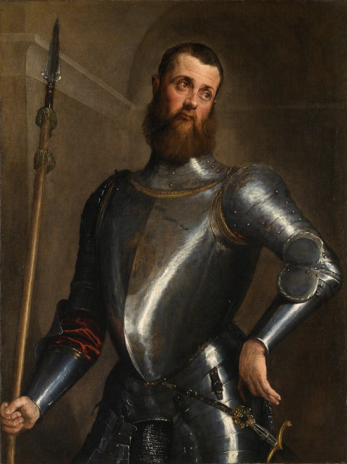 "<span class=""artist""><strong>Jacopo Da Ponte, Jacopo Bassano</strong></span>, <span class=""title""><em>Portrait of a military commander, three-quarter length, in armour, wearing a broadsword and holding a partigiana</em></span>"