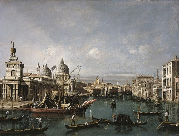 "<span class=""artist""><strong>Bernardo Bellotto</strong></span>, <span class=""title""><em>The Entrance to the Grand Canal, Venice, looking West, with the Dogana and the Church of Santa Maria della Salute</em></span>"