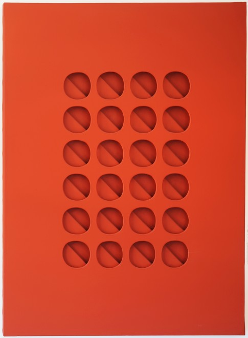 "<span class=""artist""><strong>Paolo Scheggi</strong></span>, <span class=""title""><em>Intersuperficie curva dal rosso</em>, 1965</span>"