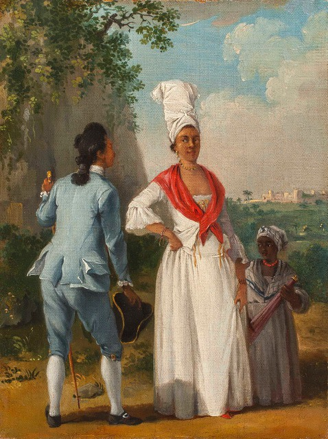 """<span class=""""artist""""><strong>Agostino Brunias</strong></span>, <span class=""""title""""><em>Free People of Colour with a Servant in a Landscape</em>, After 1770</span>"""