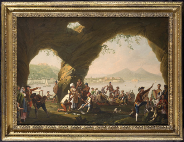 "<span class=""artist""><strong>Pietro Fabris</strong></span>, <span class=""title""><em>Peasants scene in a cave at Margellina, with the Riviera di Chiaia in the background</em>, 1756</span>"