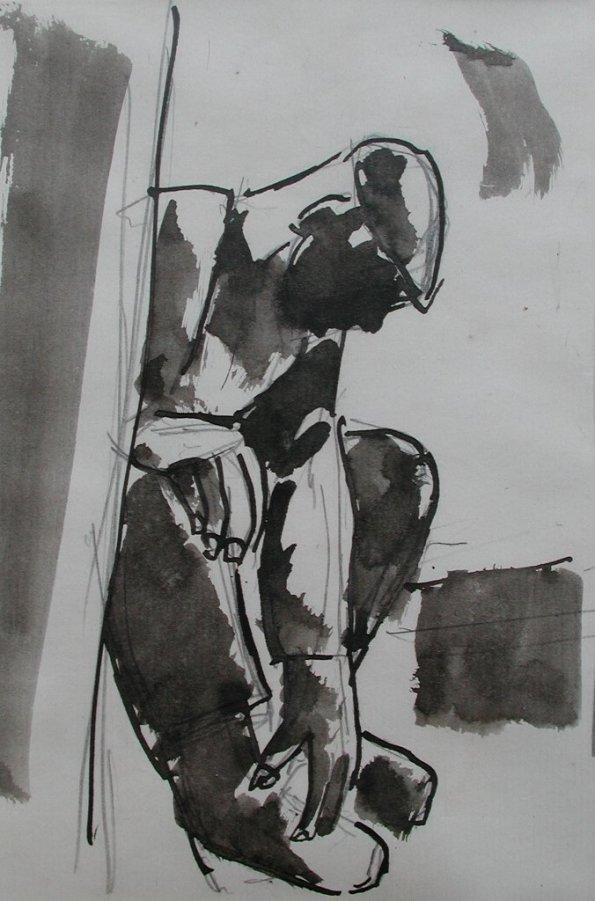 Josef Herman, Seated miner, 1955