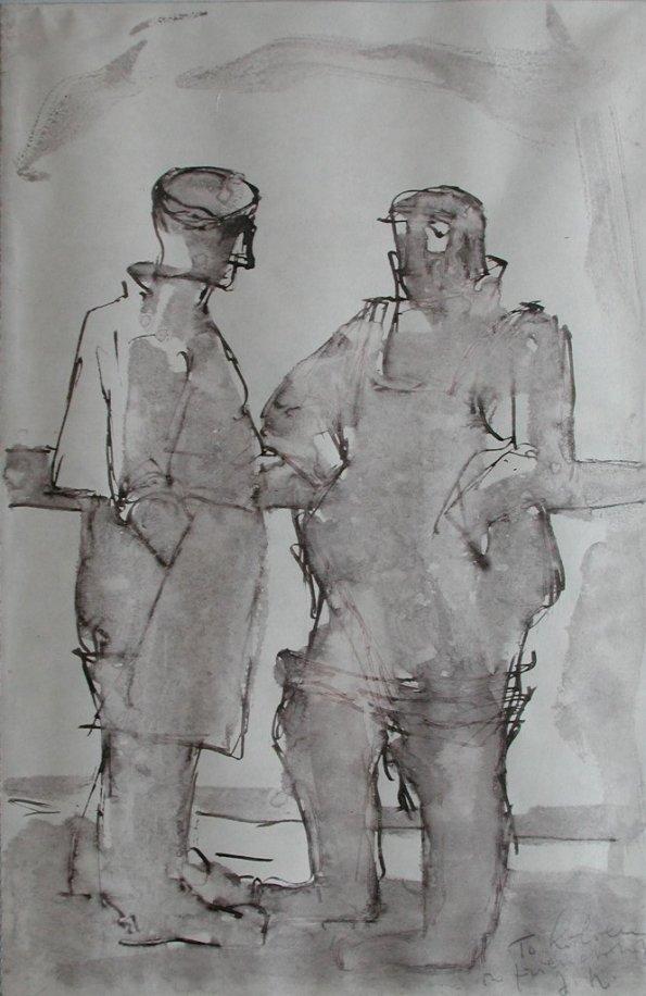 Josef Herman, Two fisherman on deck, 1949