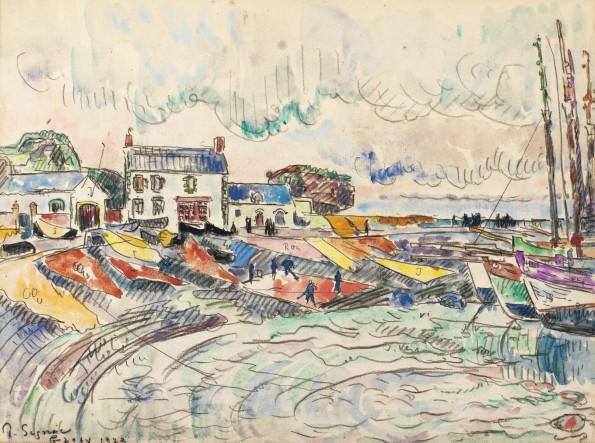 Paul Signac, Groix, le nettoyage des voiles, 1923