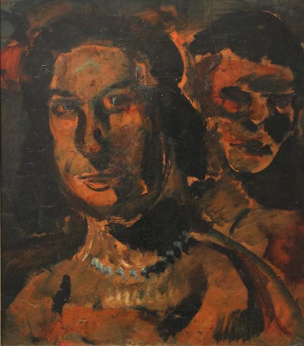 Deux Têtes de femmes /Deux filles (esquisse)verso
