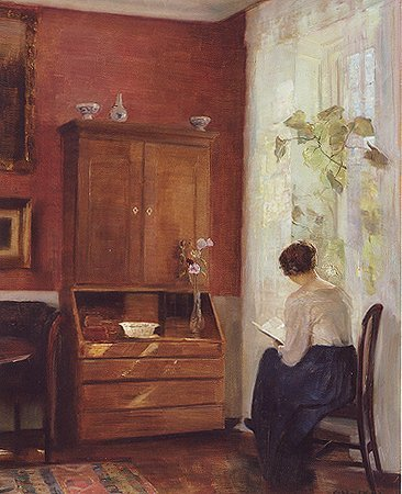 Carl Holsoe, Still life with young girl reading