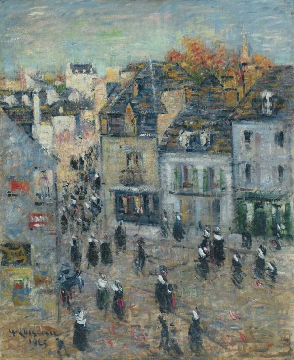 Gustave Loiseau, Pont Aven, Sortie de la messe à sept heures, 1923