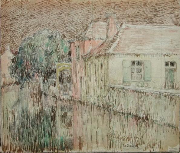 Henri Le Sidaner, Maison sur le canal, Nemours, 1903