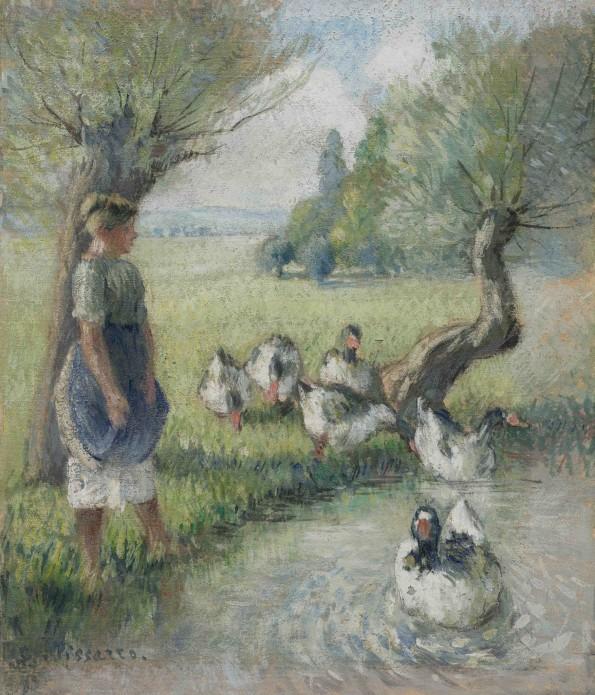 <span class=&#34;artist&#34;><strong>Camille Pissarro</strong></span>, <span class=&#34;title&#34;><em>La gardeuse d'oies (la mare aux canards)</em>, c.1890</span>