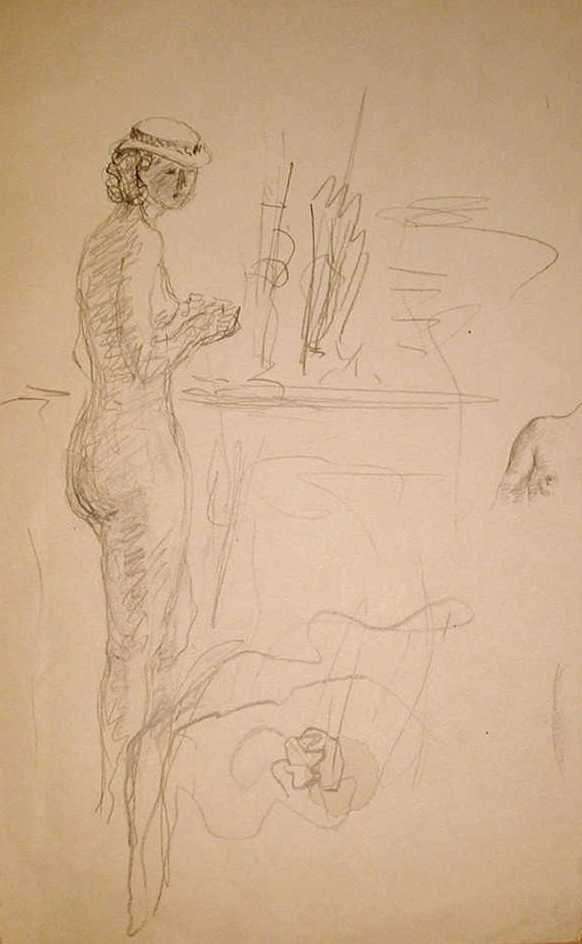Henri Lebasque, Nu debout au chapeau, 1928