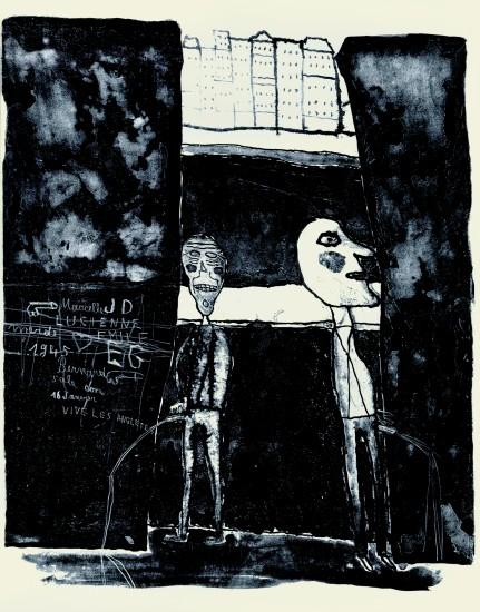 "<span class=""artist""><strong>Jean Dubuffet</strong></span>, <span class=""title""><em>Pisseurs au mur 16 janvier 1945</em>, 1945</span>"