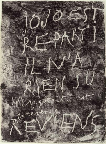 "<span class=""artist""><strong>Jean Dubuffet</strong></span>, <span class=""title""><em>Jojo est reparti</em>, 1944</span>"