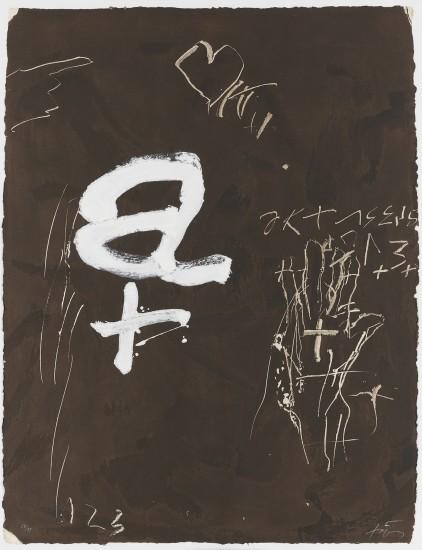 """<span class=""""artist""""><strong>Antoni Tapies</strong></span>, <span class=""""title""""><em>A i creu</em>, 1992</span>"""