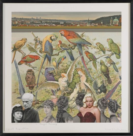 """<span class=""""artist""""><strong>Peter Blake</strong></span>, <span class=""""title""""><em>Joseph Cornell's Holiday – Czech Republic, Prague. 'Aviary'</em>, 2017</span>"""
