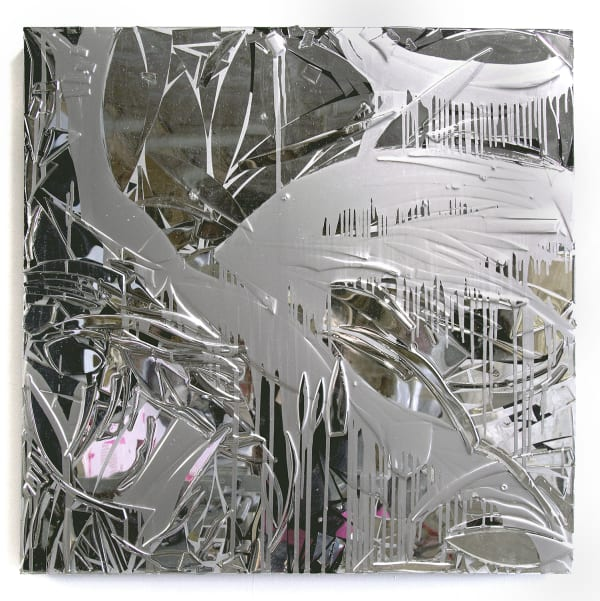 Connie Noyes Her Reflection is Irrelevant Hand Cut Mirror, Chrome, Enamel, Resin on Panel
