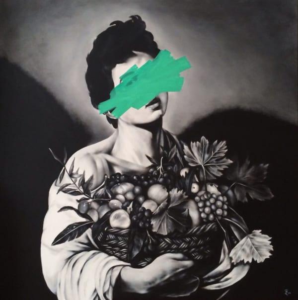 Petra von Kazinyan Fresh ripe fruit, 2014 Acrylic & liquid chalk on canvas 39 1/2 x 39 1/2 in 100 x 100 cm