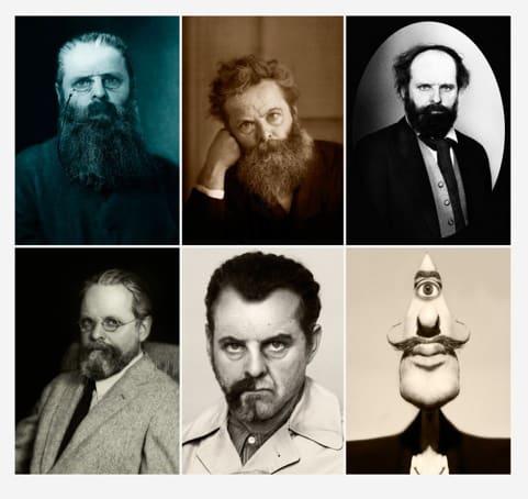 Gavin TURK, Rodin, Morris, Cézanne, Man Ray, Dali (Beard Lithographic Print), 2015