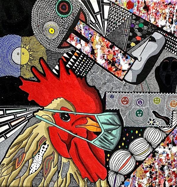 quel poulet, coq, peinture acrylique, pop art, fun art, colorée, couleur vivante, énergie positive, décoration intérieure, art décoration, art design, art maison, idée art intérieure, décoration salon, décoration bibliothèque, décoration meuble, art thema heyi, galerie d'art bruxelles, galerie d'art contemporain