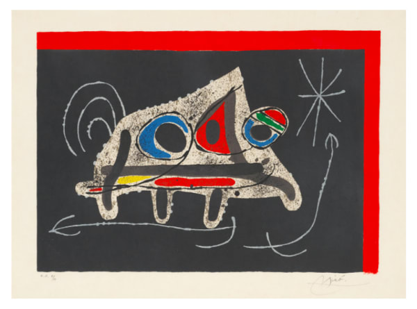 Joan Miro, Cover, from: Le Lézard aux plumes d'or, 1971