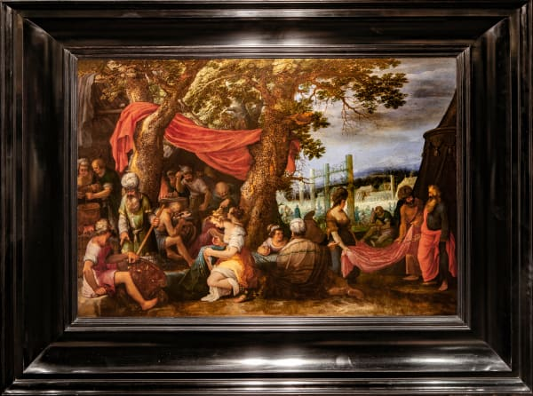 Adriaen van Stalbemt, The Building of the Tabernacle with the Israelites Sewing Curtains, circa 1610-20