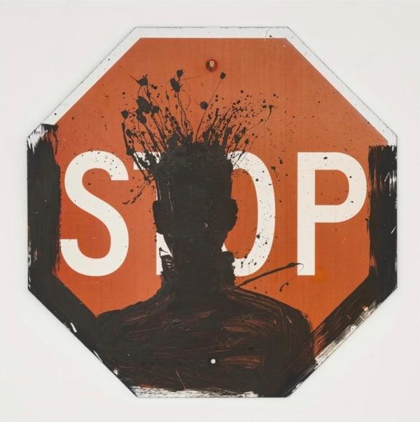 Richard Hambleton, Untitled (Shadow Head on Stop Sign), 1999