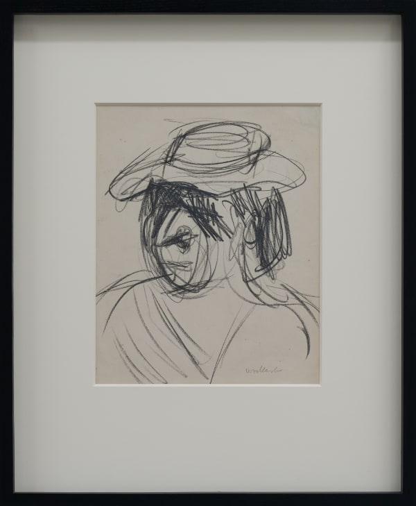 Mountford Tosswill Woollaston, Woman in Straw Hat (head and shoulders, with hat), ND