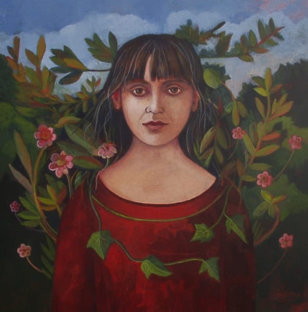 Nicola Slattery, Self-Portrait with Leaves, 2015
