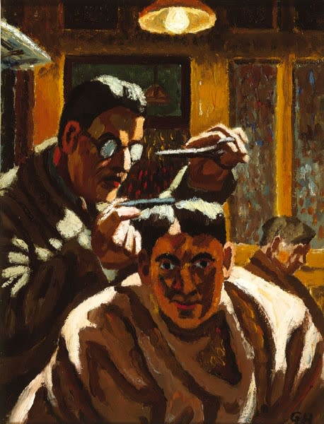 George Hooper, Self-Portrait, from drawing made while having my hair cut, 1946