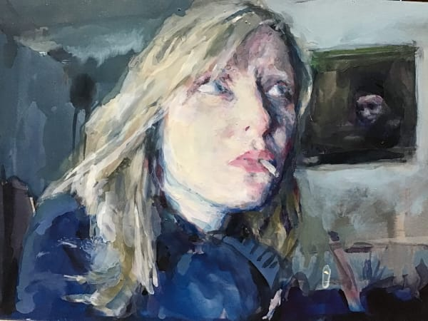 Geraldine Swayne, Portrait of Geraldine Swayne, live, in her haunted studio.