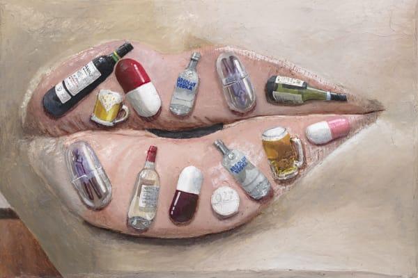 Gina Beavers Addiction Lips (Detail), 2020 Acrylic on linen on panel 24 x 36 x 3 inches 61 x 91.4 x 7.6 cm