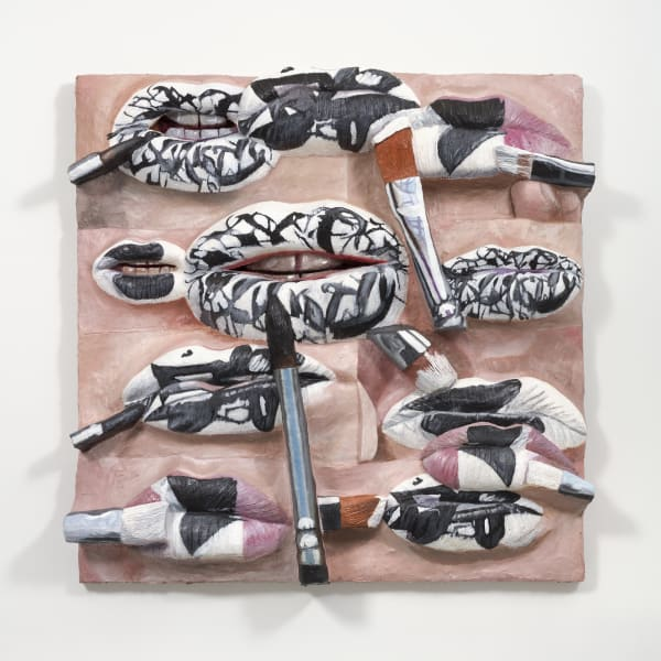 Gina Beavers The Artist's Lips with Pollock, Kelly, and Kline, 2020 Acrylic and foam on linen on panel 72 x 72 inches 182.9 x 182.9 cm