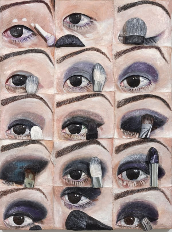 Gina Beavers's Smoky Eye Every Step, from 2020, focuses on the unending presence of the female face and body in art and advertising.